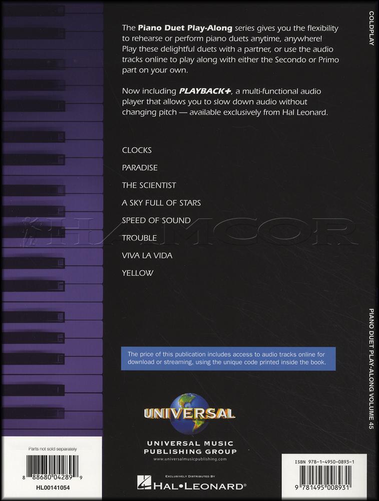 Coldplay Piano Duet Play Along Bookaudio Hamcor