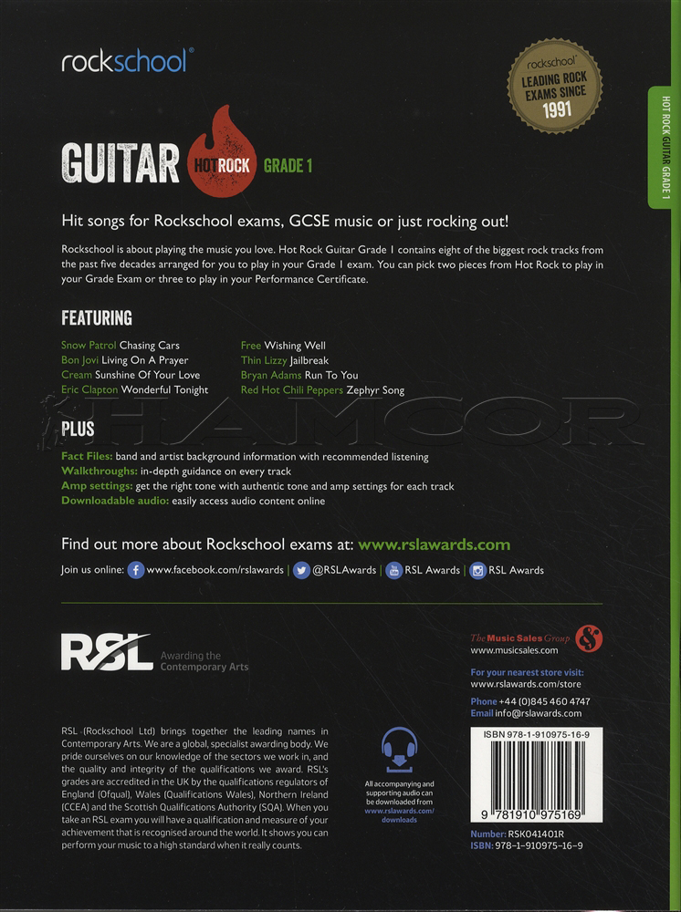 Rockschool Guitar Hot Rock Grade 1 Book/Audio | Hamcor