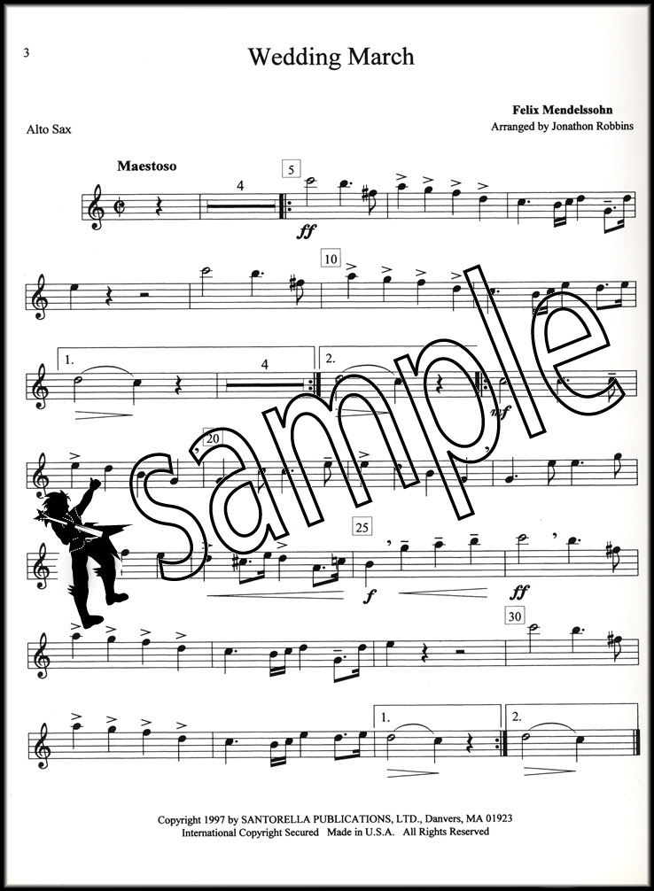 Sentinel Bridal Chorus Menhelssohns Wedding March Alto Saxophone Sax Piano Music Book