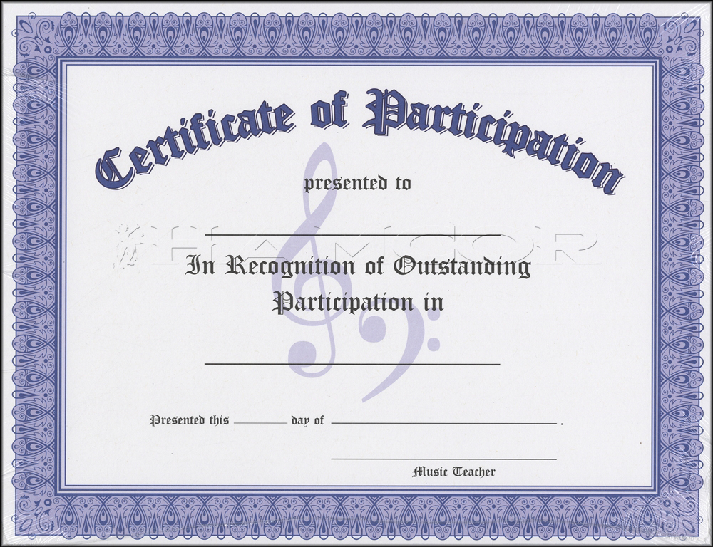 certificate of participation blank blue pack of 10 music