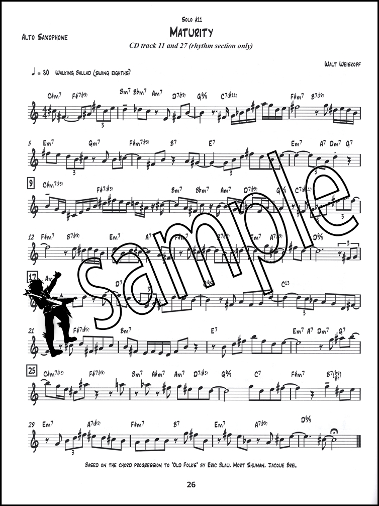 All Music Chords saxophone solo sheet music : 16 Moderately Challenging Jazz Solos Alto Sax Book/CD | Hamcor