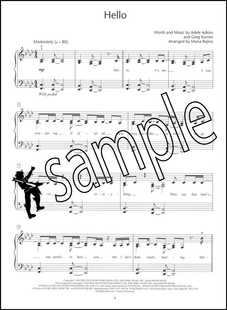 Piano hello piano sheet music : Adele Intermediate Piano Solos Sheet Music Book Hello Someone Like ...