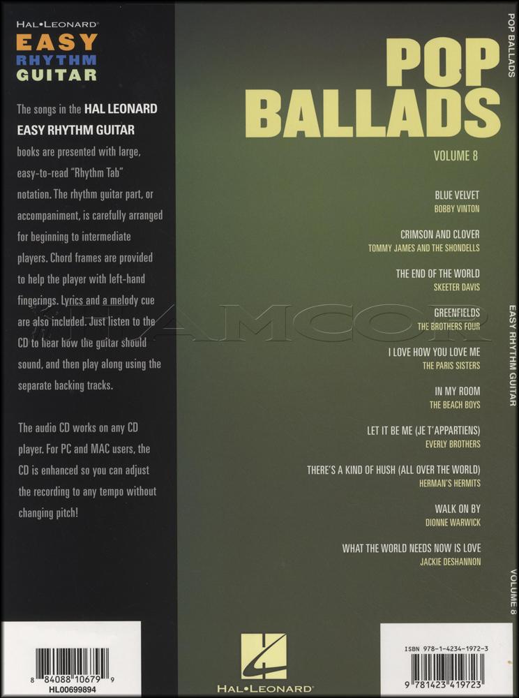 Pop Ballads Easy Rhythm Guitar Bookcd Hamcor