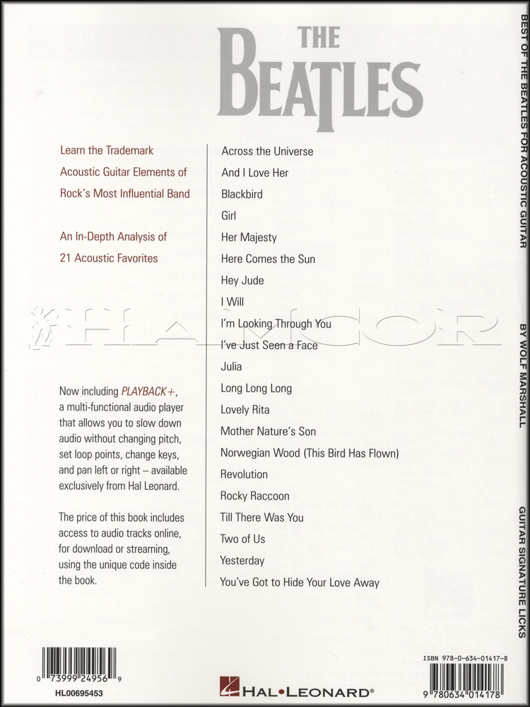 Best Of The Beatles For Acoustic Guitar Bookaudio Hamcor