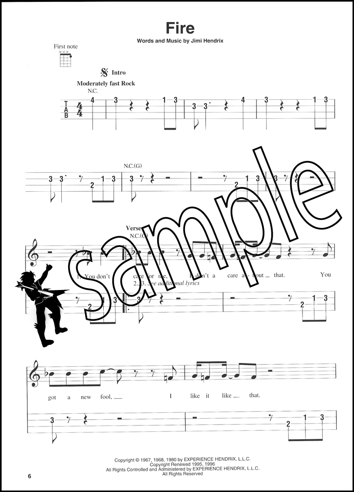 Jimi Hendrix Experience Smash Hits Ukulele Tab Music Book Purple
