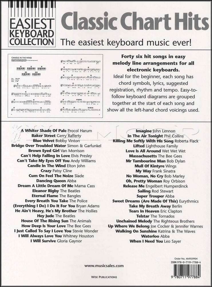 Easiest Keyboard Collection Classic Chart Hits Sheet Music Book Abba