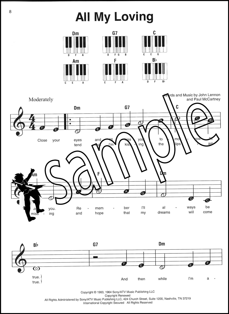 The Beatles Super Easy Songbook Piano Sheet Music Book Back In The