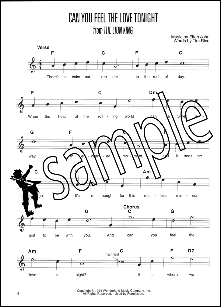 All Music Chords can you feel the love tonight sheet music : Easy Pop Melodies Guitar Method Book/Audio | Hamcor