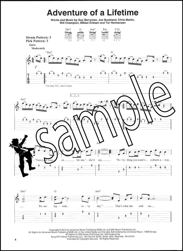 Very Best Of Coldplay Easy Guitar Tab Music Book Clocks Yellow Vida