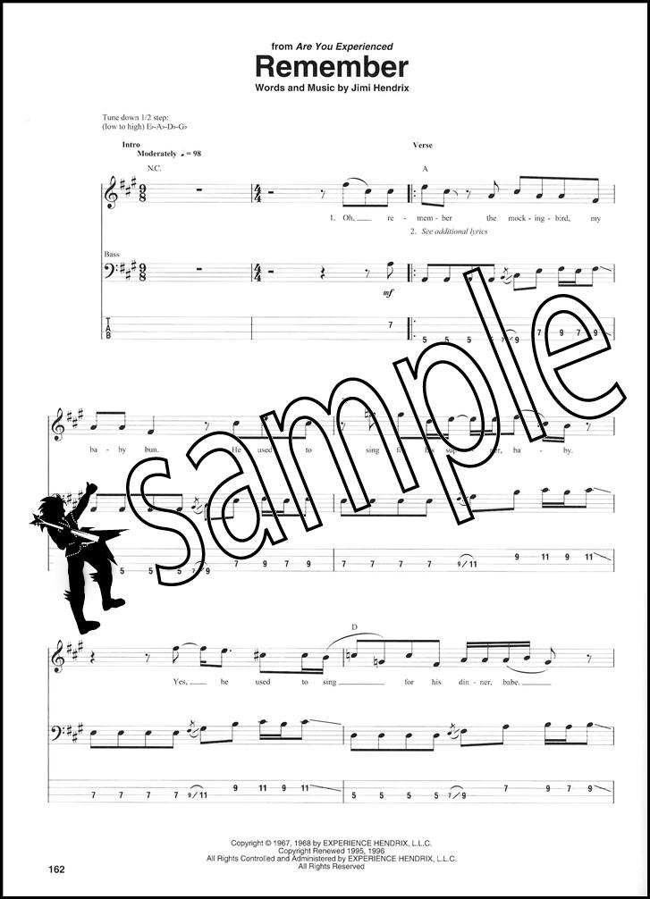 Jimi Hendrix Bass Tab Collection Hamcor