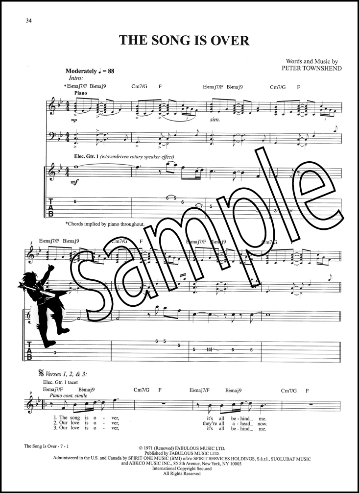 The Who Who\'s Next Guitar TAB Music Book Behind Blue Eyes Bab O ...