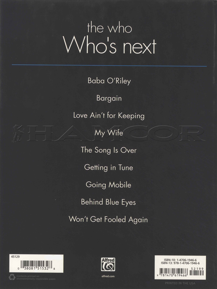 The Who Who's Next Guitar TAB Music Book Behind Blue Eyes Bab O ...