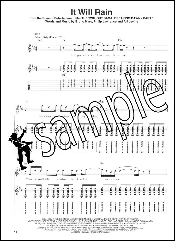 Bruno Mars Guitar Play Along Tab Music Book With Cd Grenade Treasure