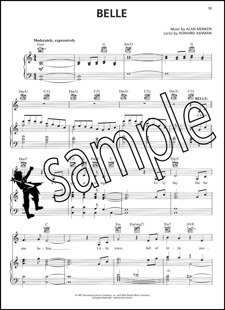 Beauty and the Beast Piano Vocal Guitar Sheet Music Book Movie ...
