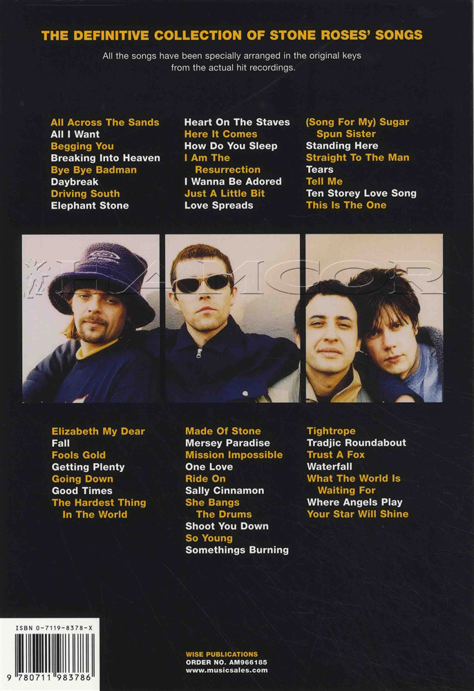 The Stone Roses Complete Chord Songbook Guitar Lyrics Tears