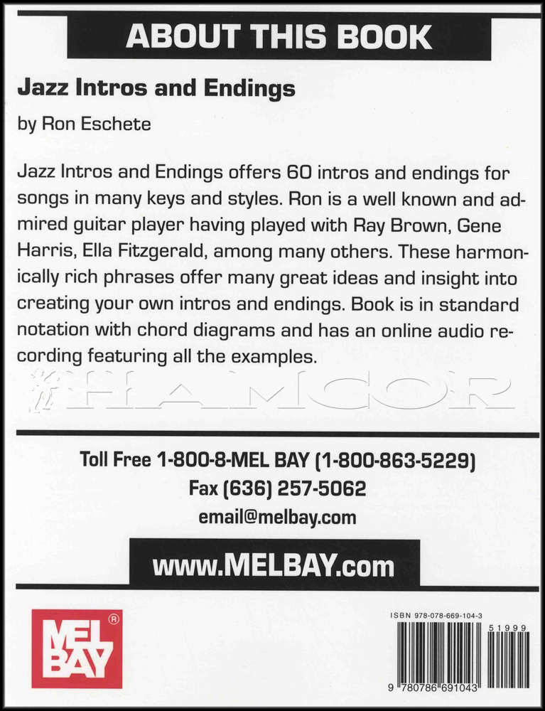 Jazz Intros and Endings Guitar Chord Music Book with Audio by Eron ...