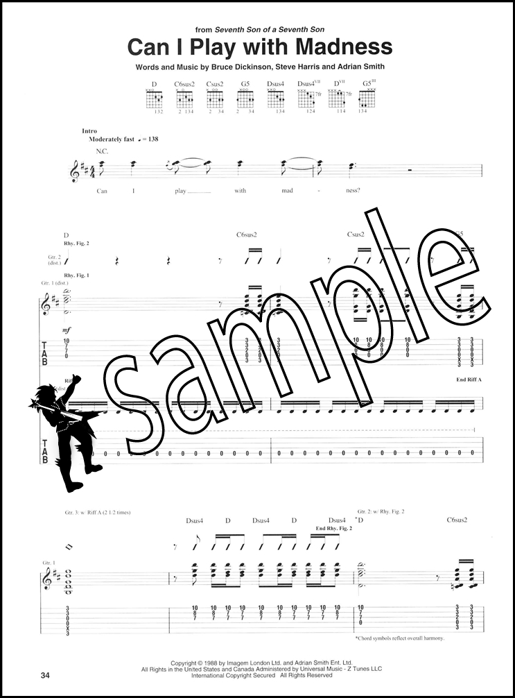 By Iron Maiden Metal Pop Rock Guitar Tab 14 Pages Published By Hal Leonard Digital Sheet Music Hx 376249