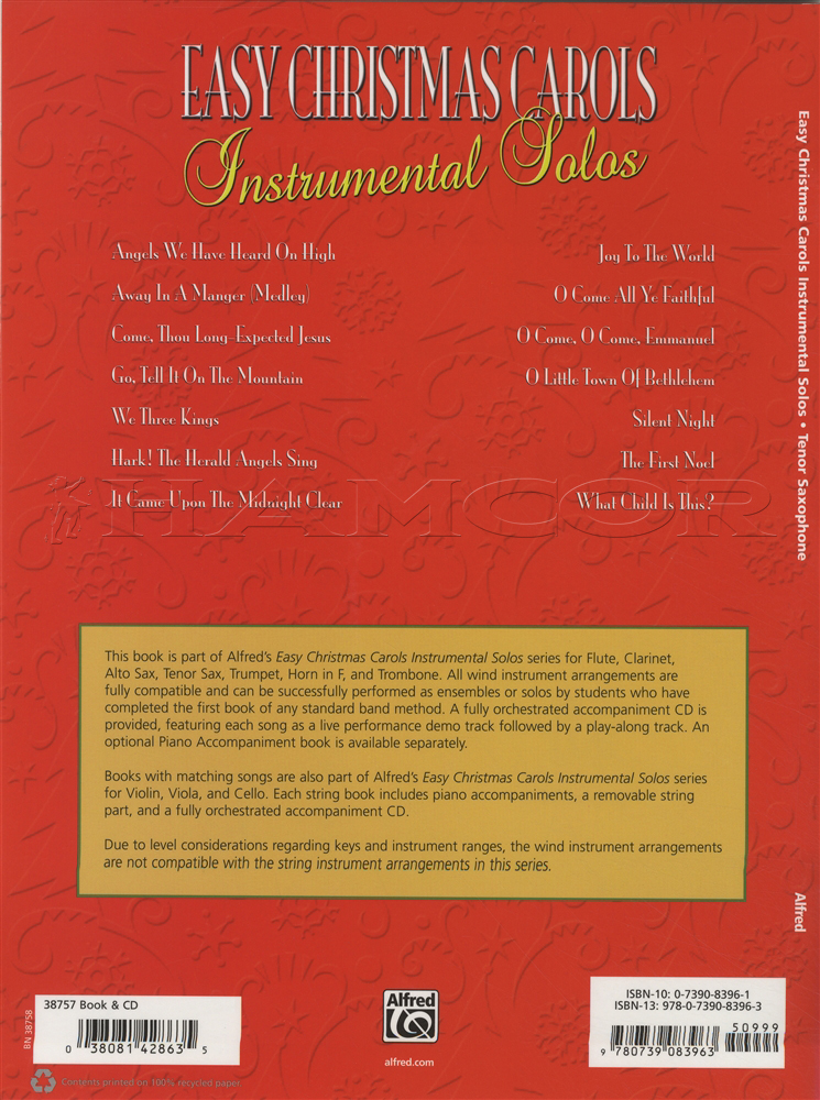 Easy Christmas Carols Instrumental Solos Tenor Sax Saxophone Sheet ...