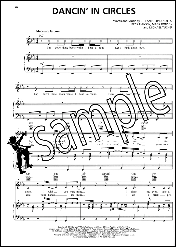 Sentinel Lady Gaga Joanne Piano Vocal Guitar Sheet Music Book Pop Hey Girl Angel Down AYO