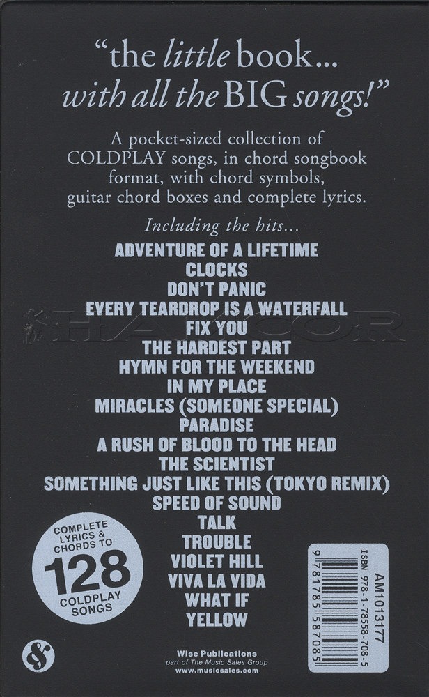 Coldplay The Little Black Songbook Guitar Chord Revised Edition
