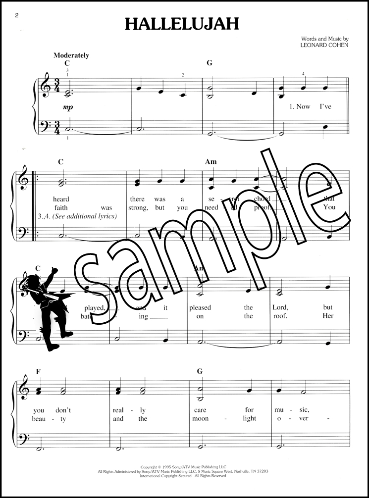 Piano easy piano sheet : Hallelujah for Easy Piano Words and Music by Leonard Cohen Sheet ...