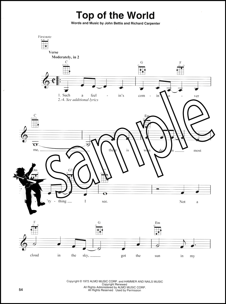 Carpenters For Ukulele Chord Melody Songbook Solitare Ticket To