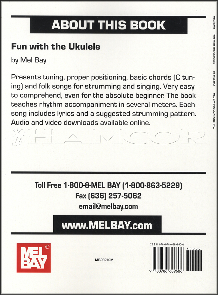 Fun With The Ukulele Chord Song Book With Audio And Video Mel Bay Ebay