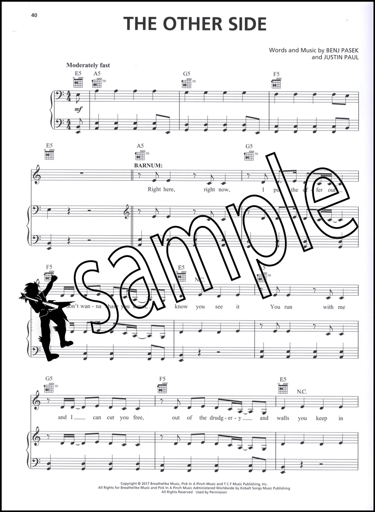 The Greatest Showman Piano Vocal Guitar Sheet Music Book