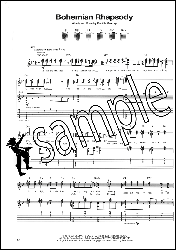 Classic Queen Guitar Recorded Versions TAB Music Book Bohemian ...
