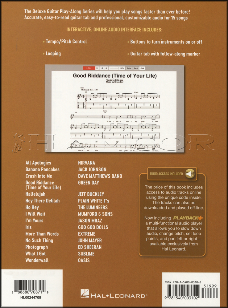 Acoustic Songs Deluxe Guitar Play-Along Book/Audio | Hamcor