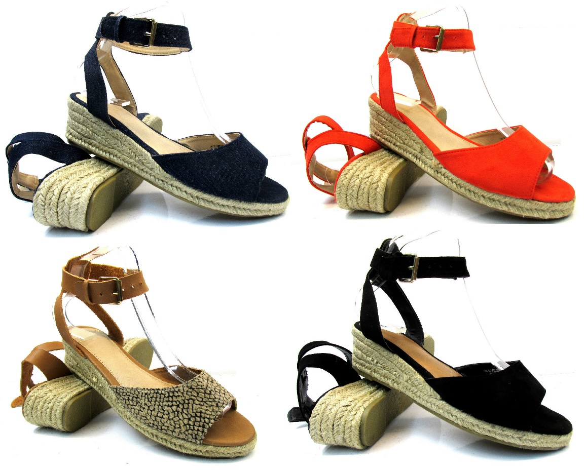 2cc71229cd WOMENS NEW FLAT LOW WEDGE HEEL ESPADRILLES SUMMER LADIES SANDALS SHOES SIZE  3-9