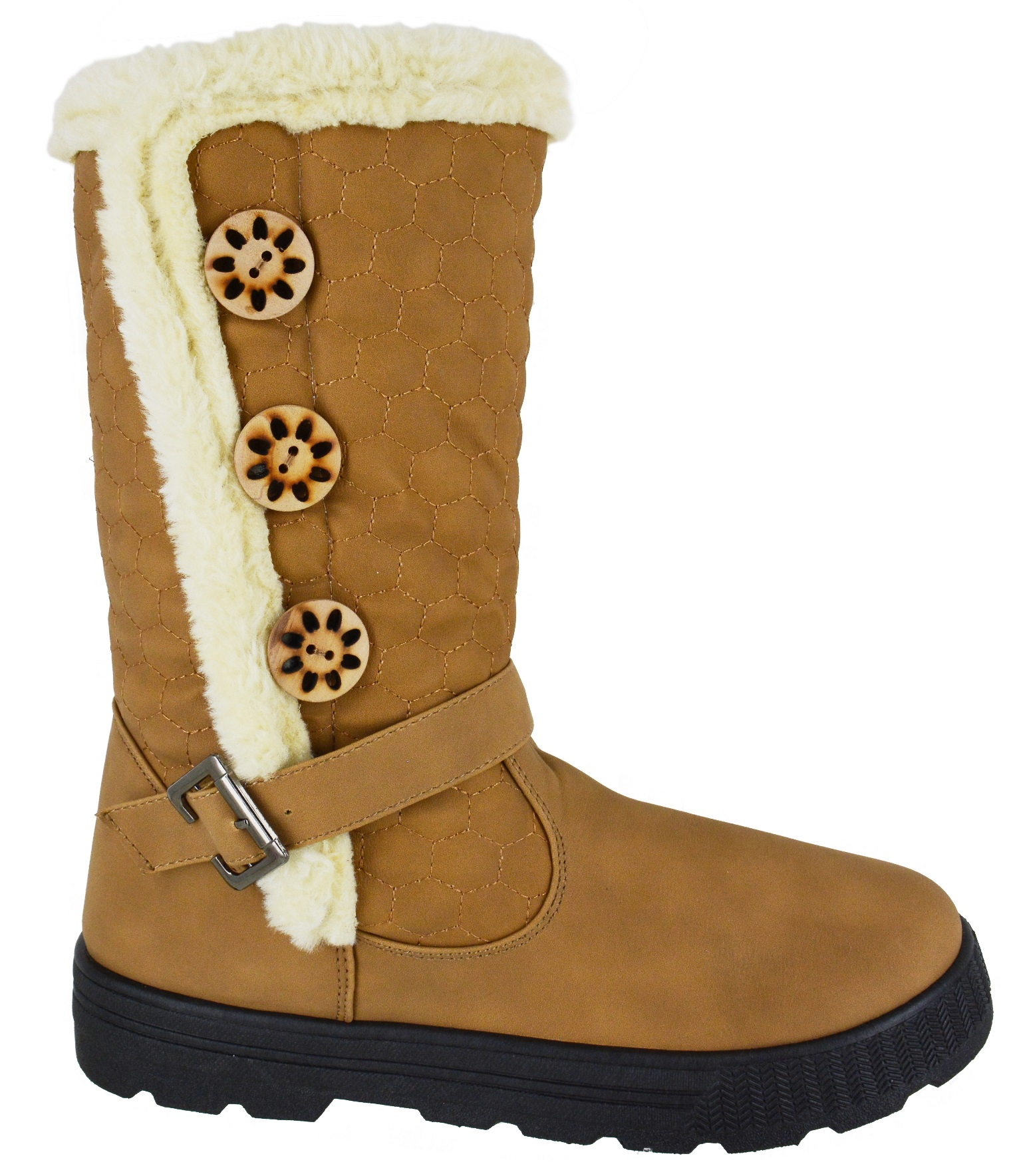 LADIES-GIRLS-FLAT-KNEE-HIGH-BUCKLED-FUR-LINED-WINTER-WOMENS-WARM-SNOW-BOOTS-SZ
