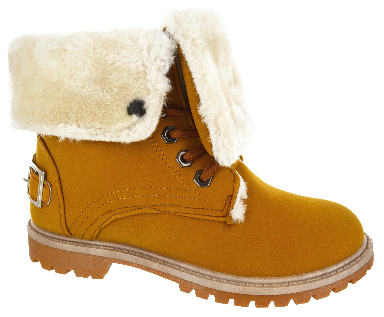 WOMENS-LADIES-FLAT-FUR-LINED-GRIP-SOLE-WINTER-ARMY-COMBAT-ANKLE-BOOTS-SHOES-SIZE