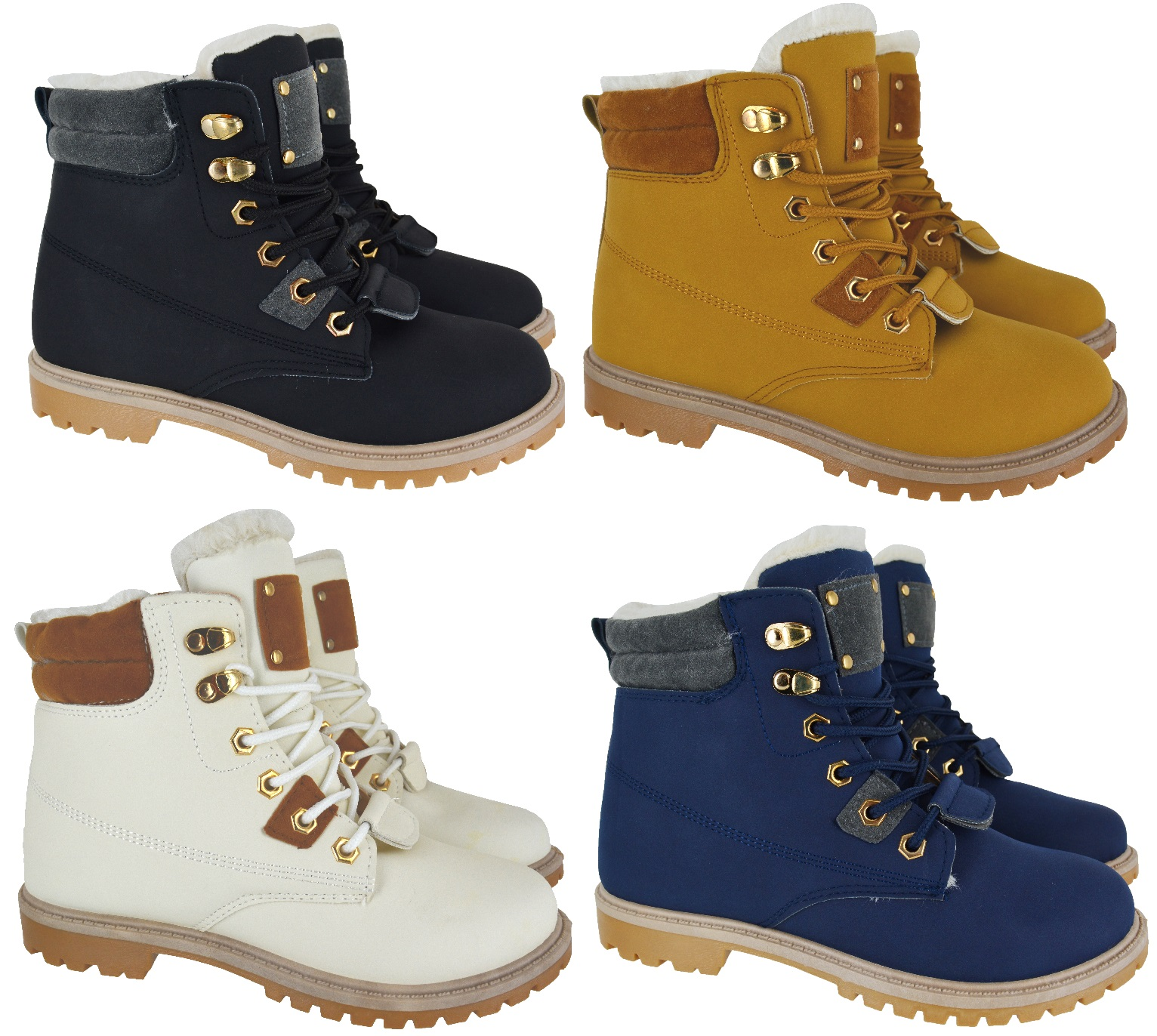 NEW LADIES COMBAT FAUX FUR LINED WARM WINTER ARMY ANKLE SHOES WOMENS BOOTS SIZE