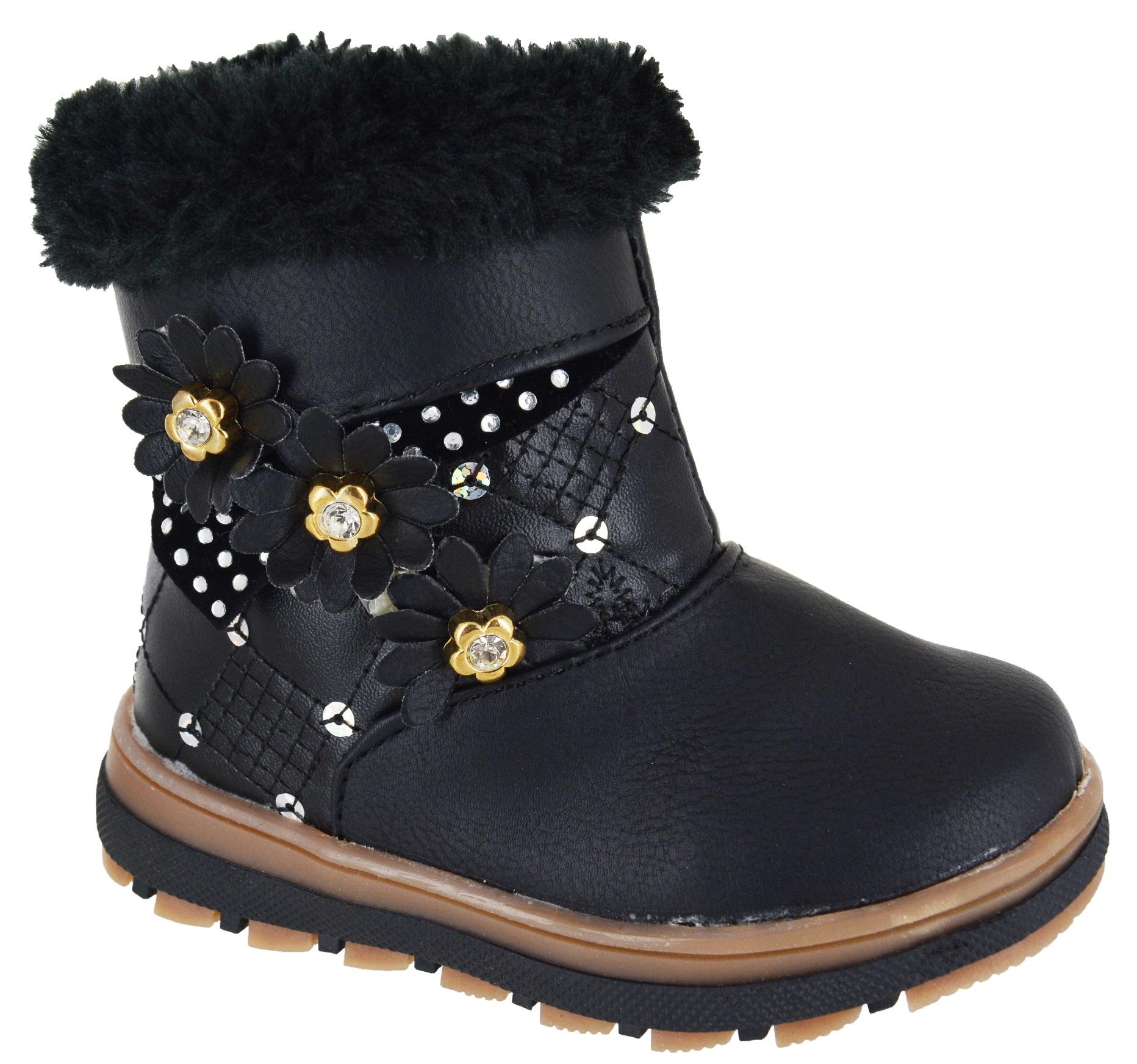 NEW-BABIES-INFANTS-CHILDREN-GIRLS-WARM-WINTER-SNOW-BOOTS-GRIP-SOLE-SHOES-SZ-3-7