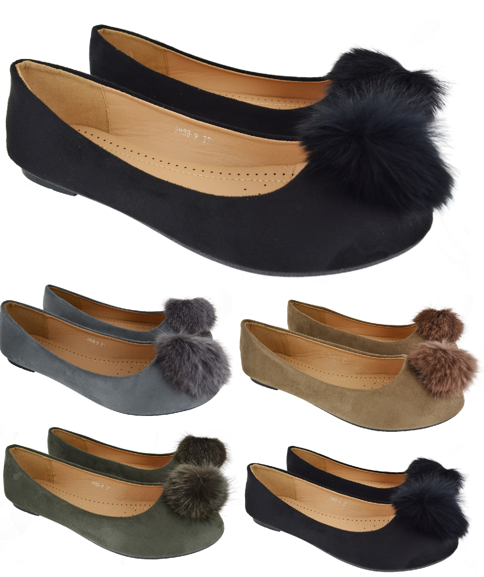 92d25cdad184 Sentinel LADIES WOMENS FLAT PUMPS BALLET SLIP ON FLUFFY FUR BALL POM POM  DOLLY SHOES SIZE