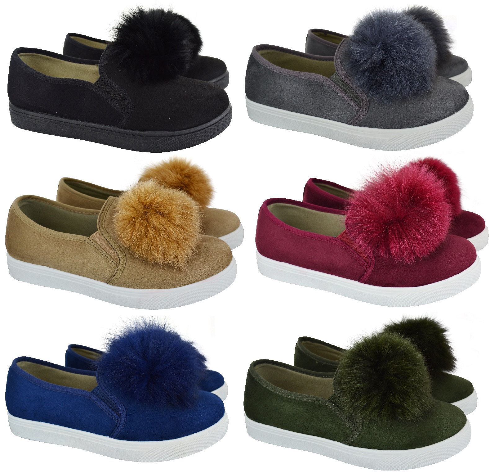 Sentinel WOMENS LADIES POM POM LOAFERS STYLE SUEDE TRAINERS PUMPS FLAT HEEL  SHOES SIZE d3c961190