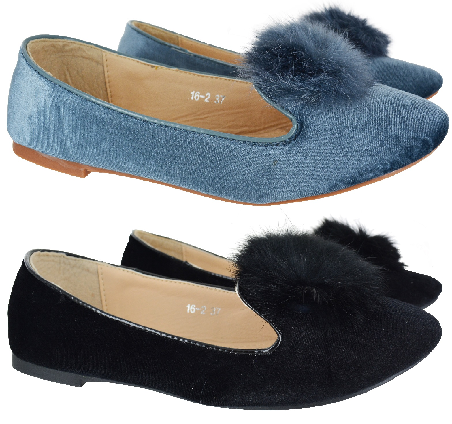 aad2ff75eaa4 Sentinel WOMENS LADIES FLAT SHOES PUMPS POM POM LOAFERS BALLET FUR FLUFFY  SHOE SIZE 3-8