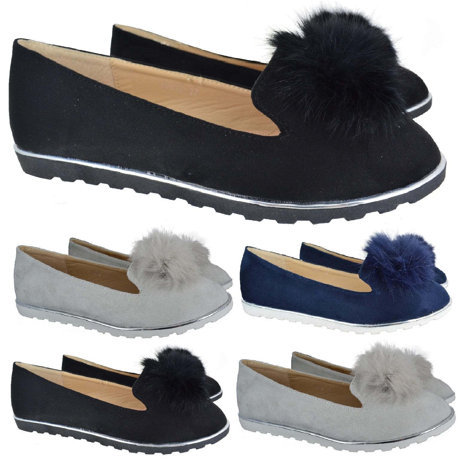 d13ce1a75ee Sentinel WOMENS LADIES FLUFFY POM POM FLAT OFFICE LOAFERS PUMPS BALLET  SHOES SIZE 3-8 NEW