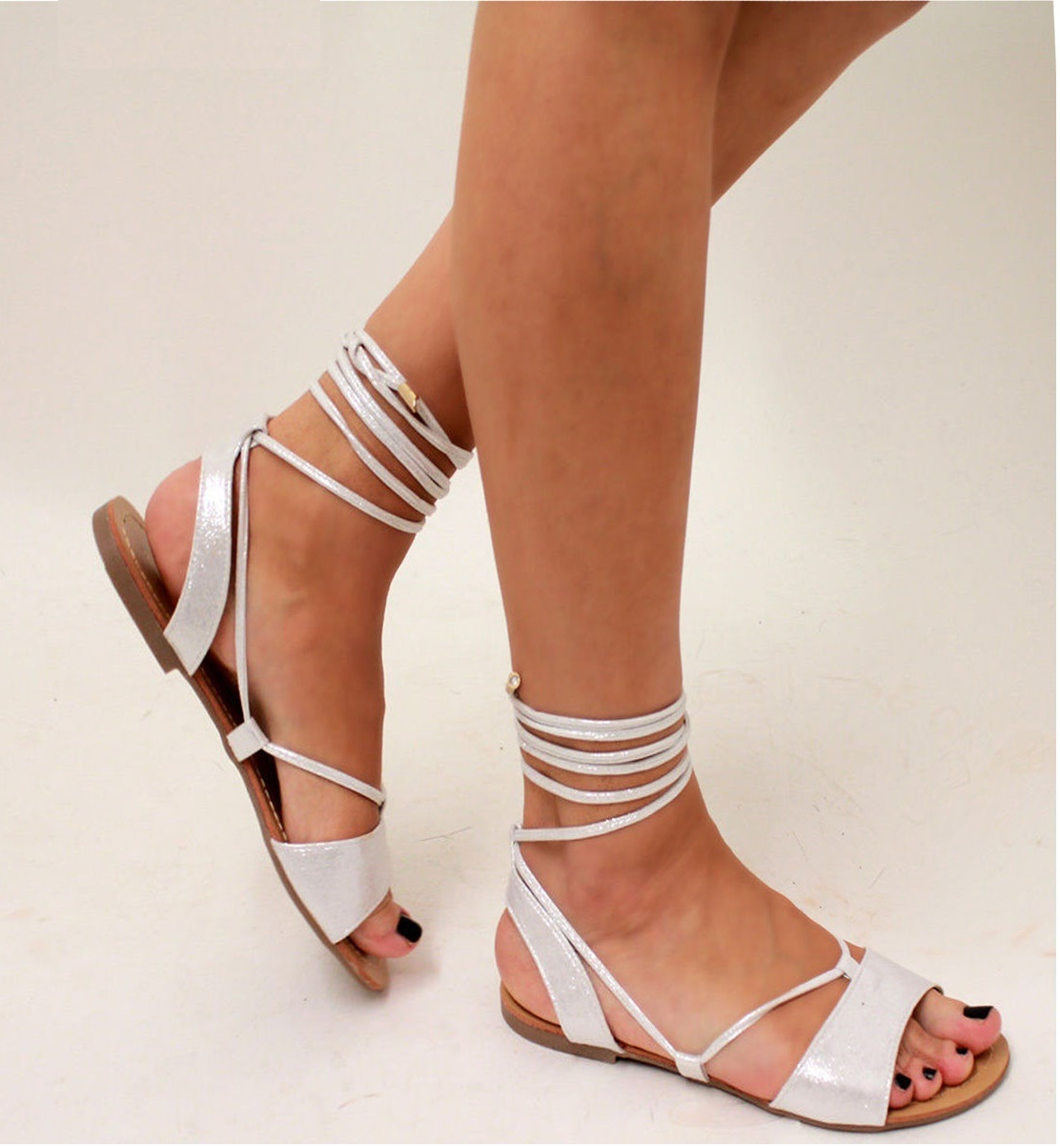 LADIES-WOMENS-FLAT-LACE-UP-LEG-STRAPPY-GLADIATOR-SUMMER-FASHION-SANDALS-SHOES-SZ