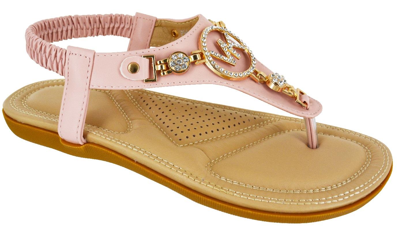 LADIES-WOMENS-FLAT-COMFORT-DIAMANTE-SUMMER-BEACH-DRESS-SANDALS-SHOES-SIZE-3-8