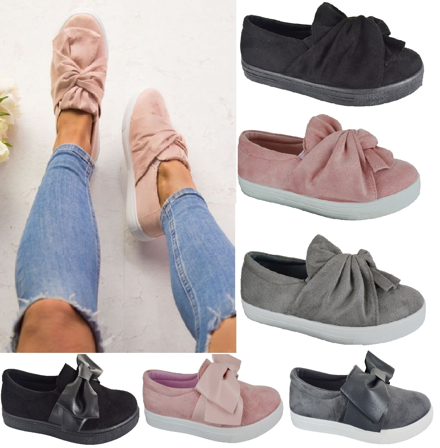 4a8ca9a68 Sentinel LADIES WOMENS FLAT FAUX SUEDE SLIP ON BOW TRAINERS SNEAKERS PUMPS  SHOES SIZE 3-8