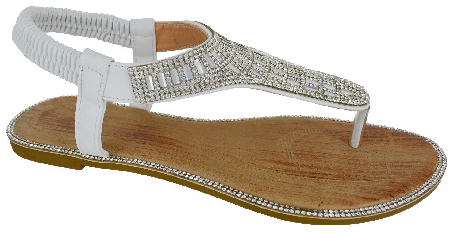 damen flach strass party hochzeit zehentrenner bekleidung sandalen schuhe ebay. Black Bedroom Furniture Sets. Home Design Ideas