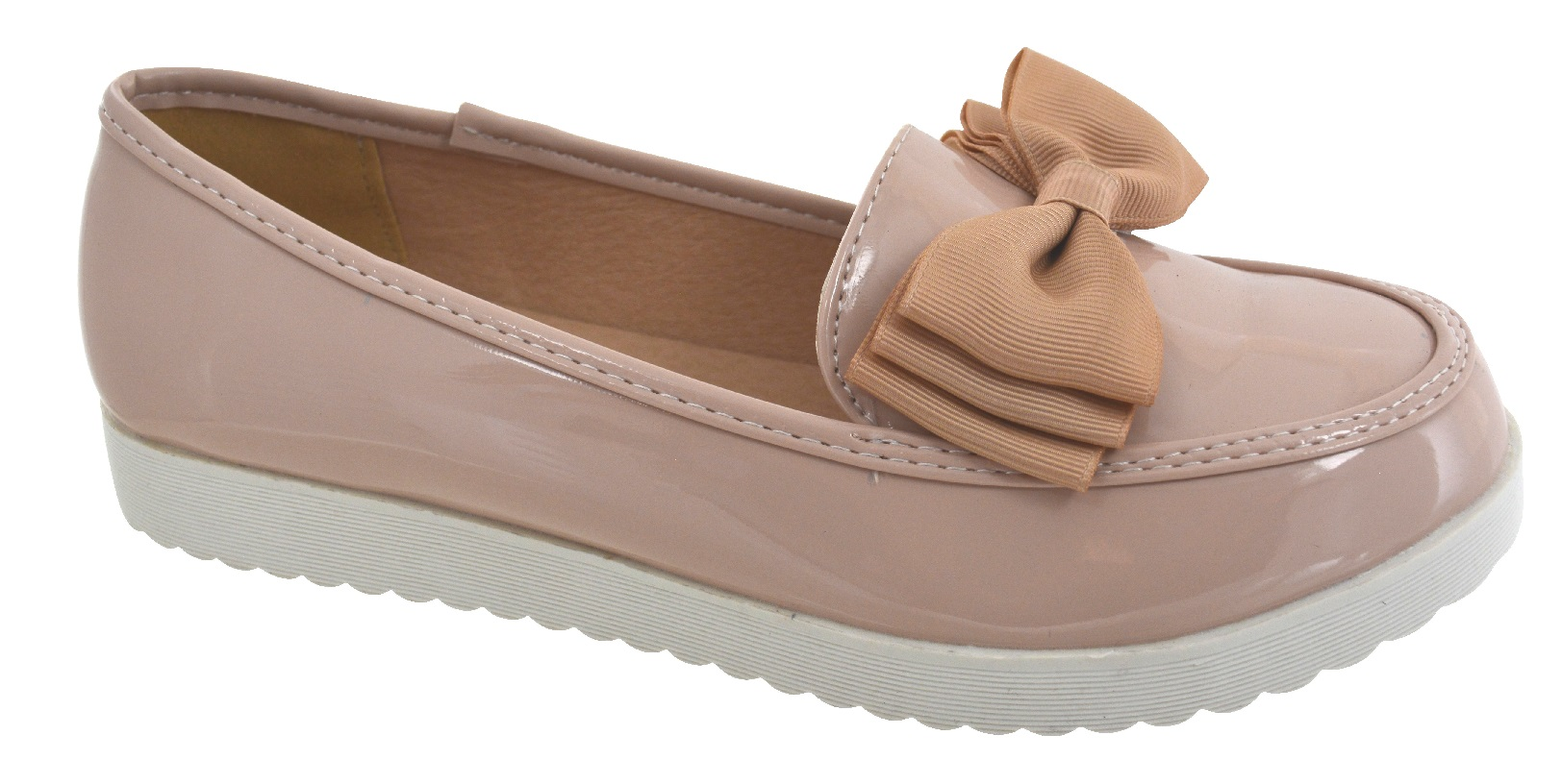 WOMENS-LADIES-FLAT-CREEPER-CHUNKY-SOLE-SCHOOL-WORK-DOLLY-LOAFERS-BOW-SHOES-SIZE