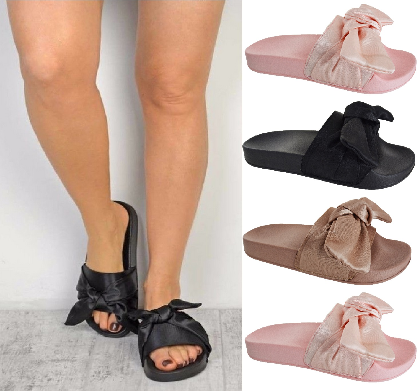 damen flache slipper satin schleife schieber gummi sandalen pantoffeln schuhe ebay. Black Bedroom Furniture Sets. Home Design Ideas