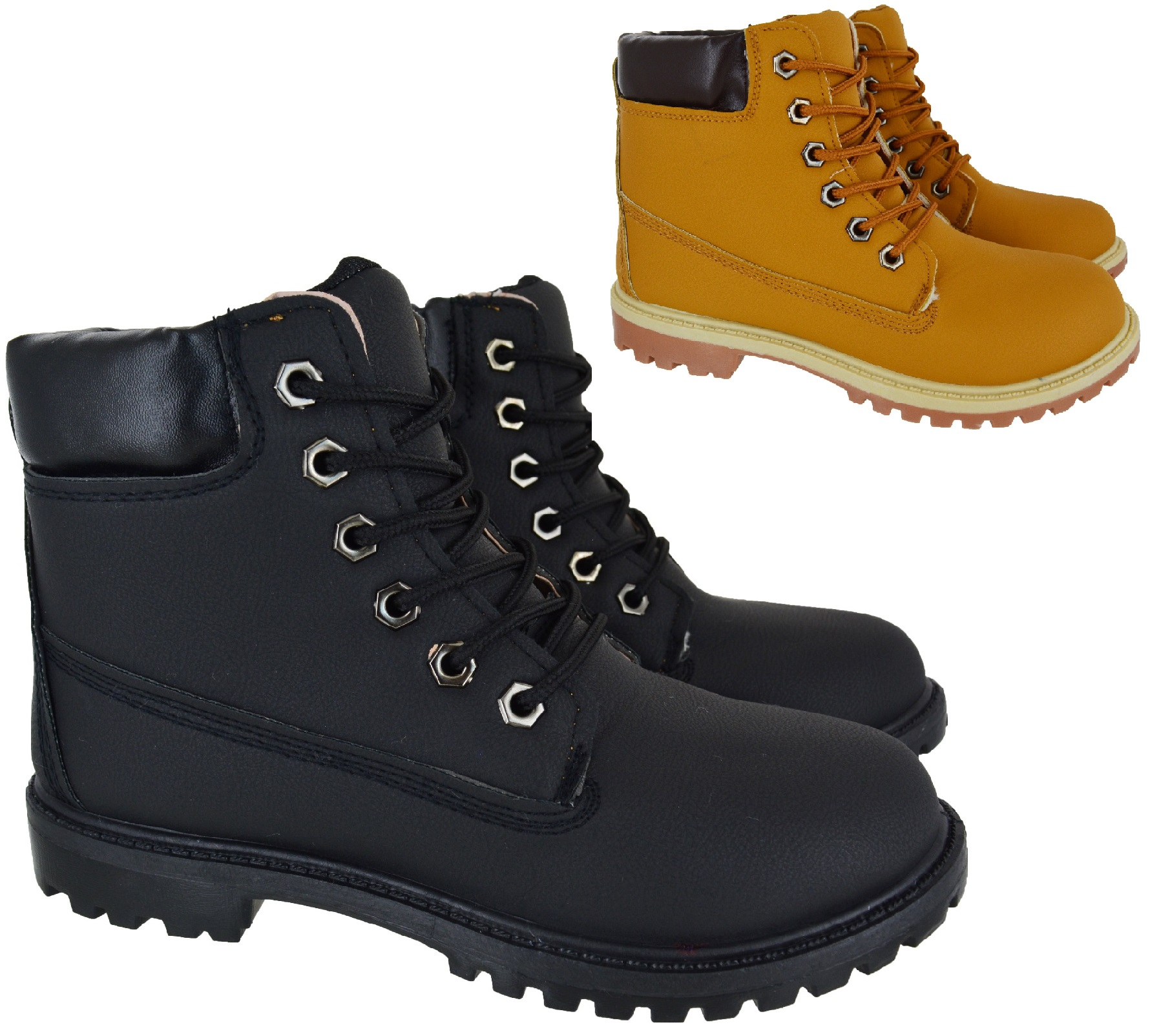 11173c34cbf42 Sentinel WOMENS LADIES COMBAT CASUAL GRIP RUBBER SOLE LACE UP ANKLE BOOTS  SHOES SIZE 3-8