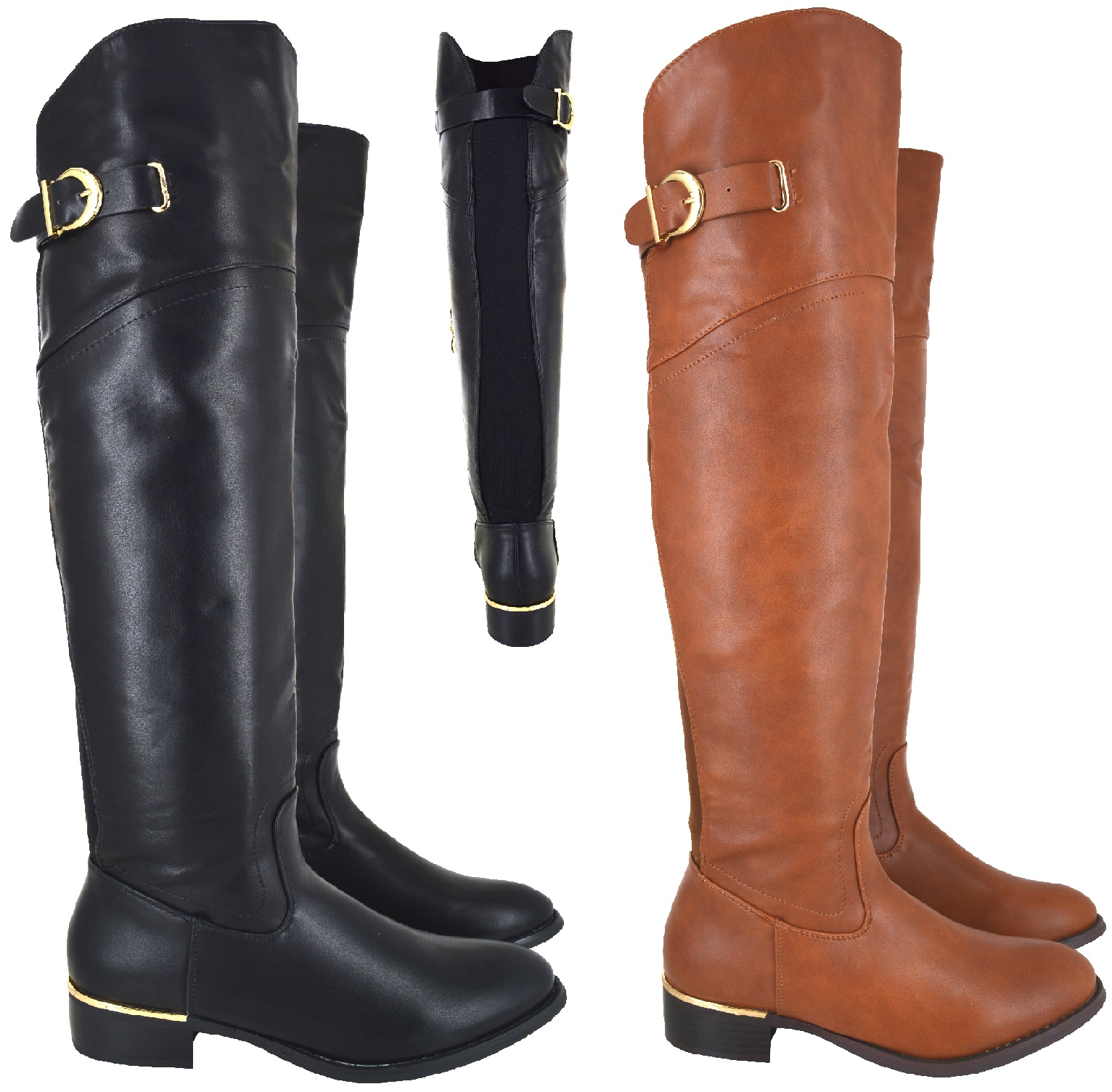 08e811e1744 Sentinel LADIES WOMENS OVER THE KNEE BOOT WIDE CALF FIT ELASTICATED FLAT HIGH  BOOTS SIZE