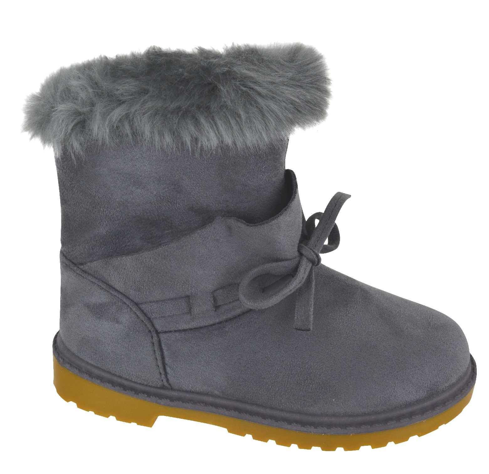KIDS-GIRLS-NEW-FAUX-FUR-LINED-WARM-WINTER-ZIP-GRIP-SOLE-BOW-SHOE-BOOTS-SIZE-8-13