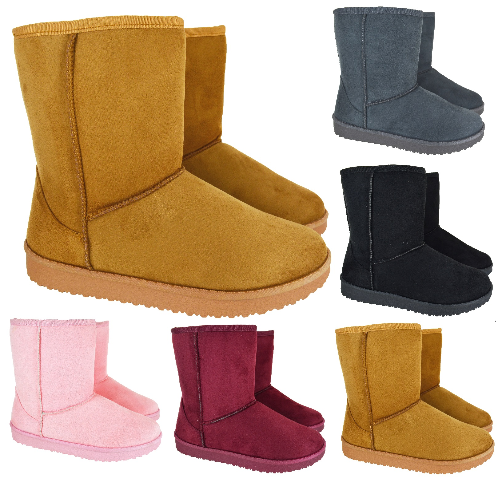 LADIES WOMENS WARM WINTER FAUX FUR LINED HUG SNUGG ANKLE SHOES BOOTS SIZE 3-8