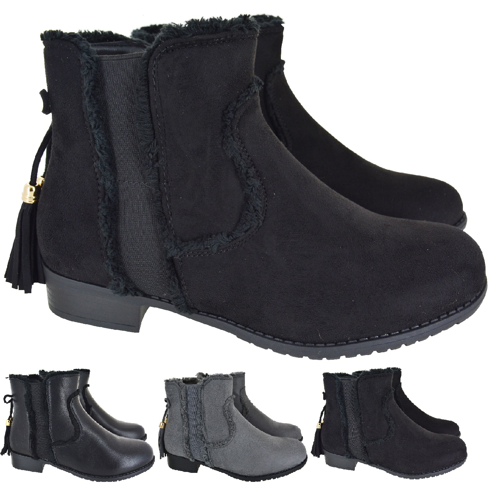 WOMENS CASUAL TASSEL CHELSEA STYLE LOW BLOCK HEEL LADIES ANKLE BOOTS SIZE 3-8
